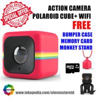 Jual Polaroid Cube+ Wifi Red Free Bumper Case SD Card Monkey Stand Murah