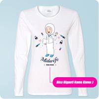 Kaos Bidan Lengan Panjang Midwife Kartun Hijab / Muslim Custom Nama