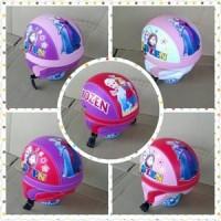 helm retro anak motif frozen/ helm sepeda