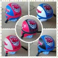 helm retro  anak motif cars/ helm sepeda