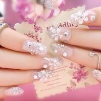 Fake Nails Kuku Palsu Wedding Art Blink 3D Party Silver