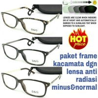 paket frame kacamata dgn lensa anti radiasi minus&normal