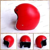 Helm Half Face/Cafe Racer/Japstyle/Retro/bogo Merah Doof dop