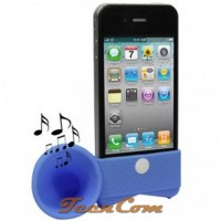 Portable Amplifier Silicone Horn Stand Speaker for iPhone 4/4S - Blue