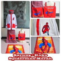 Jual Set Sarung + Koko Spiderman Merah M Murah