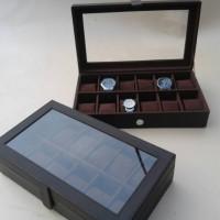 .Tempat | Wadah | Kotak | Box Jam Tangan Isi 12 Full Coklat