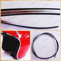 list hitam semi crome/krom untuk helm, body vespa, motor, 1 meter