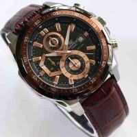 Jual Jam Tangan EF Edifice 539 Leather Brown Rosegold Super Murah
