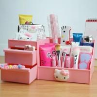 Harga tempat kosmetik hello kitty buat di meja wadah alat kecantikan | antitipu.com