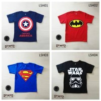 Kaos Anak Superhero Iron Man, Batman, Superman, Hulk, dll