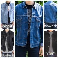 Jual jaket jeans denim pria biowash cowo bioblitz cowok blue black jean Murah