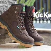 sepatu boot safety ujung besi kickers leather suede dark brown