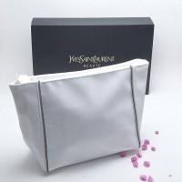 YSL White Glossy Pouch Cosmetic Bag Tas Kosmetik
