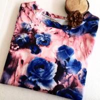 blouse wanita bunga atasan kaos cotton motif print hem tumblr polos