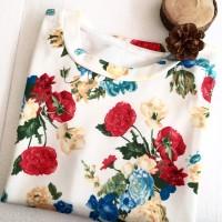 kaos flower bunga atasan wanita tumblr t shirt korea jepang grosir new