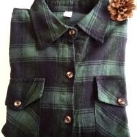 kemeja kotak flanel burberry atasan blouse motif fashion wanita import