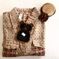 kemeja flanel lv burberry koleksi wanita hem import fashion grosir