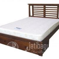 Tempat Tidur Jati  Minimalis Jari-Jari 2 Laci
