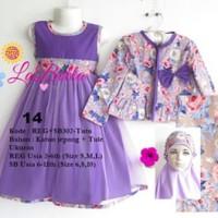Baju Muslim/Gamis Anak Labella (Usia 2 - 6th) REG302-Tutu Ungu No.14