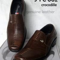 Sepatu Formal Pantofel Kerja Kantor Pria Kulit Asli Crocodile Coklat