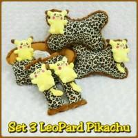 Set Car/Bantal Mobil Boneka Pokemon Go Pikachu/Leopard/Coklat 3 in 1