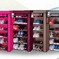 Jual shoe rack with dust cover 7grid/rak sepatu 7susun dengan cover+sleting Murah