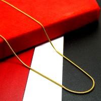 Kalung Titanium Ular / Belut Persegi Gold (60 cm)