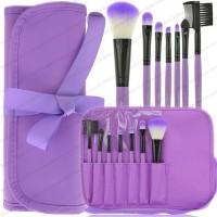 Paket Kuas Makeup Dompet Pita Ungu 7 Piece Purple Case HQ Brushes Set