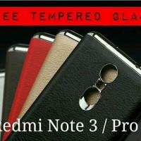 Jual Xiaomi Redmi Note 3 / Pro Case Cover Leather FREE TEMPERED GLASS Murah