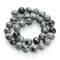 Manik Batu Alam Black Snowflake Obsidian Hitam - Bahan Gelang Kalung