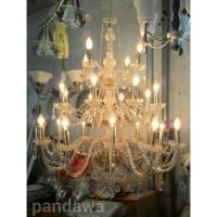 Lampu gantung kristal lilin chandelier 24 (3 susun)
