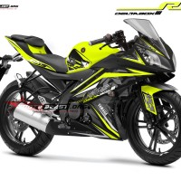 Decal stiker Yamaha R15 Black stylish Green lime
