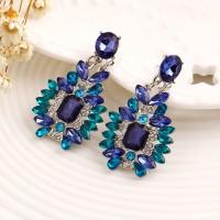 anting permata zircon biru / blue gem zircon earrings JAN039