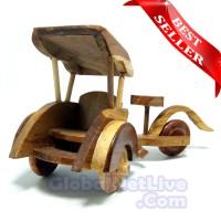 Miniatur Becak Kayu Jati P23 - Hiasan Pajangan Dekorasi Rumah