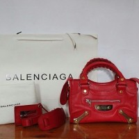 JUAL TAS BALENCIAGA SMALL CITY AMP PLATE IN RED MIRROR QUALITY