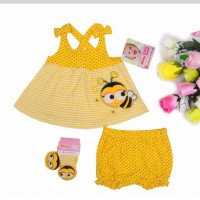 baju anak import branded setelan bayi baby honey bee yellow fashion