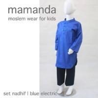 Koko Anak Katun Set Nadhif Blue Biru Electric M 4-5 Tahun