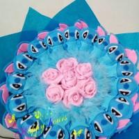 Jual buket bouquet boneka valentine wisuda stitch bunga pink Murah