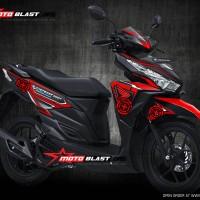 Decal stiker Honda Vario 150 - BLACK SPEED MASTER RED