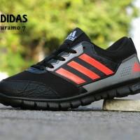 Sepatu Sport Adidas Duramo 7 Hitam Orange / Kets / Joging Cowok Cewek