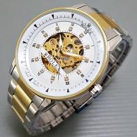 harga Jam Tangan Pria / Cowok Rolex Skeleton Omega Rantai Kombi Plat White Tokopedia.com