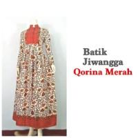 Baju Gamis Batik Wanita Qorina Merah, Busui, All Size