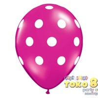 "BALON GAMBAR 11"" BIG POLKA DOTS HOT PINK #27492 (ISI 10)"