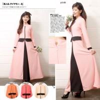 Jual Gamis 112 | Gamis Fashion Peplum Kombinasi Warna Pastel Bahan Wedges Murah