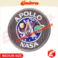 Badge Bordir Logo Biker Pesawat Apollo NASA Antariksa