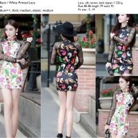 Dress motif gambar lucu berenda hitam, putih korean style