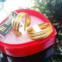 Sepasang cincin Nikah pasiran stripe gold emas/Alhihu
