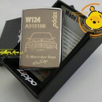 Jual korek zippo chrome custom grafir mercedes benz w124 bebas desaign Murah
