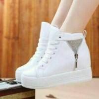 sepatu kets boot boots putih white sleting resleting glitter