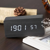 High Quality Digital LED Alarm Clock Sound Control Wooden